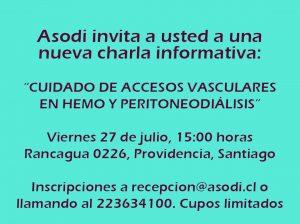 CHARLA INFORMATIVA: CUIDADO DE LOS ACCESOS VASCULARES PARA HEMO Y PERITONEODIÁLISIS @ Asodi | Providencia | Región Metropolitana | Chile